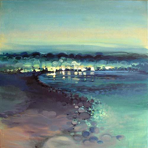 Diana Krasselt, Sommerabend III, Landschaft: Sommer, Landschaft: See/Meer, Moderne, Expressionismus