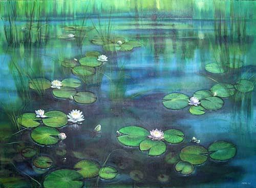 Diana Krasselt, Seerosen, Pflanzen: Blumen, Poesie, Moderne