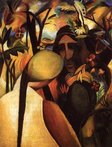 August Macke, Indianer, Natur: Wald, Menschen: Mann, Expressionismus