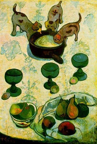 Paul Gauguin, Still Life with Three Puppies, Tiere: Land, Stilleben, Impressionismus