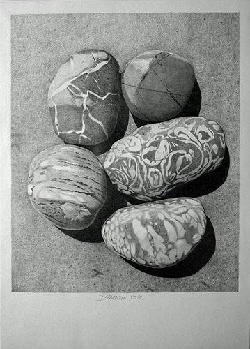 Dietrich Moravec, Five Pebbles, Stilleben, Natur: Gestein, Fotorealismus