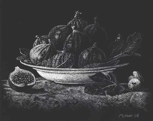 Dietrich Moravec, Schale mit Feigen, Stilleben, Ernte, Realismus