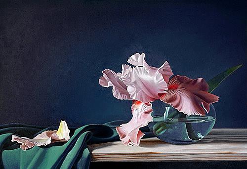 Dietrich Moravec, Verblassende Erinnerung, Pflanzen: Blumen, Stilleben, Fotorealismus, Expressionismus