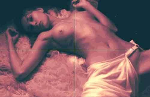 Dietrich Moravec, Akt auf Fell, Akt/Erotik: Akt Frau, Menschen: Frau, Pop-Art, Abstrakter Expressionismus