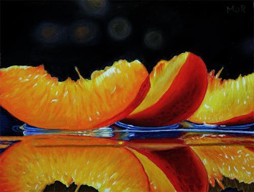 Dietrich Moravec, Nektarinenspalten / Nectarine Slices, Pflanzen: Früchte, Stilleben, Fotorealismus, Expressionismus