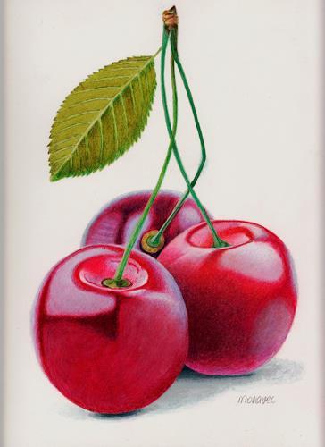 Dietrich Moravec, Cherry Triple, Pflanzen: Früchte, Essen, Realismus, Expressionismus