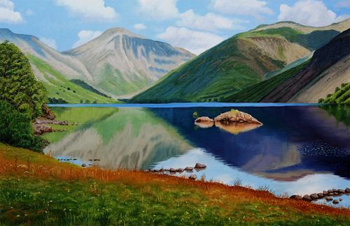 Dietrich Moravec, Stiller See/Tranquil Lake, Landschaft: Berge, Landschaft: Herbst, Realismus, Expressionismus
