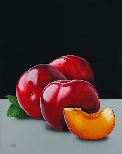 Dietrich Moravec, Nektarinen, Pflanzen: Früchte, Stilleben, Hyperrealismus, Expressionismus
