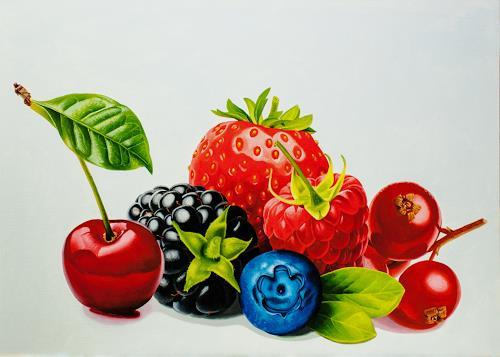 Dietrich Moravec, Beerenauslese III, Stilleben, Pflanzen: Früchte, Fotorealismus