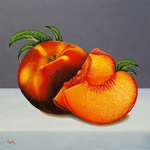 Dietrich Moravec, Peaches, Stilleben, Pflanzen: Früchte, Hyperrealismus
