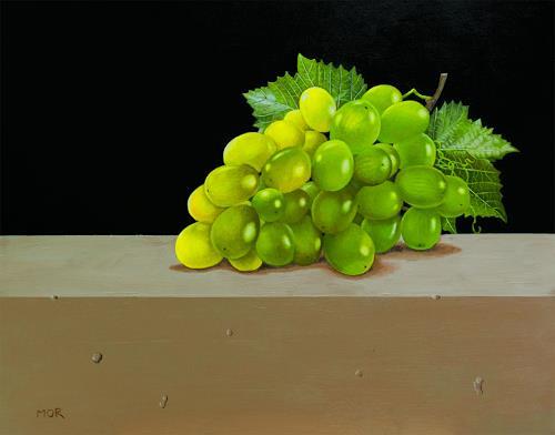 Dietrich Moravec, Green Grapes, Pflanzen: Früchte, Stilleben, Fotorealismus, Expressionismus