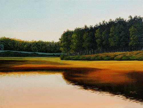 Dietrich Moravec, Glowing River, Landschaft: Ebene, Landschaft: Sommer, Fotorealismus, Expressionismus