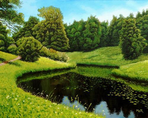 Dietrich Moravec, River Bend In The Park, Landschaft: Ebene, Landschaft: Sommer, Fotorealismus, Expressionismus
