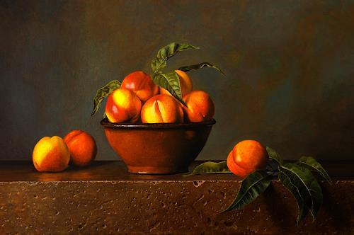 Dietrich Moravec, Nectarines and Terracotta Bowl, Pflanzen: Früchte, Stilleben, Hyperrealismus, Expressionismus