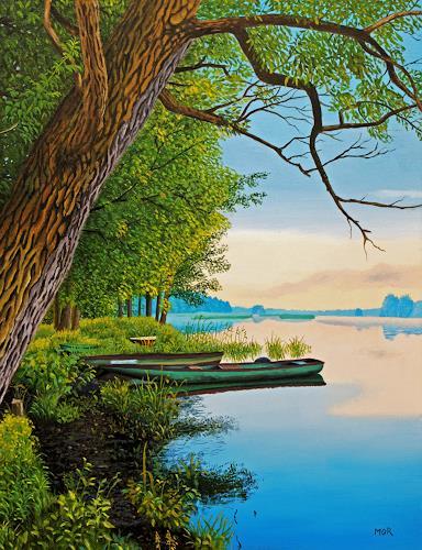 Dietrich Moravec, Boote am Flussufer, Landschaft: Sommer, Landschaft: Ebene, Hyperrealismus, Expressionismus
