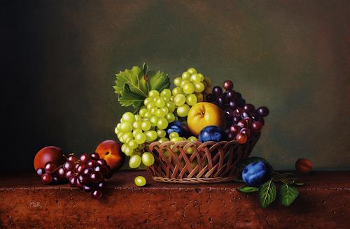 Dietrich Moravec, Fruechtekorb, Pflanzen: Früchte, Stilleben, Hyperrealismus