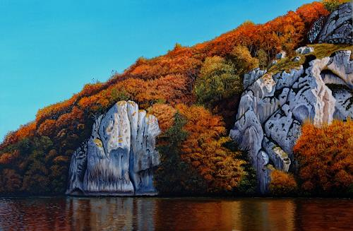Dietrich Moravec, Autumn on the Rocks, Landschaft, Landschaft: Herbst, Hyperrealismus, Expressionismus