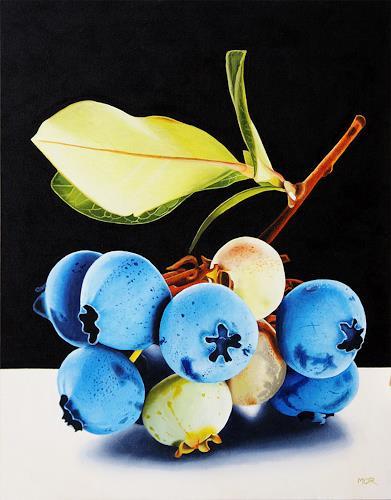Dietrich Moravec, Blaubeerzweig, Pflanzen: Früchte, Stilleben, Hyperrealismus, Expressionismus