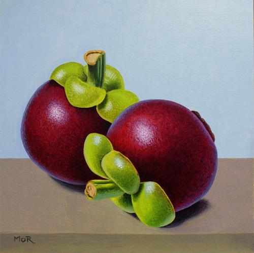Dietrich Moravec, Mangostane, Pflanzen: Früchte, Stilleben, Fotorealismus, Expressionismus