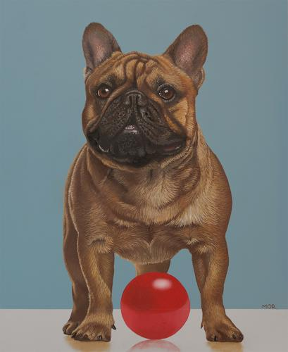 Dietrich Moravec, Just try to touch my new ball, Tiere: Land, Tiere, Fotorealismus, Abstrakter Expressionismus