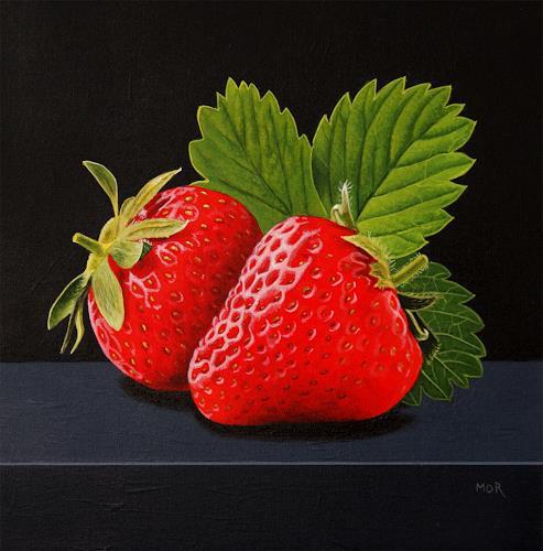 Dietrich Moravec, Erdbeerduo, Pflanzen: Früchte, Stilleben, Hyperrealismus, Expressionismus