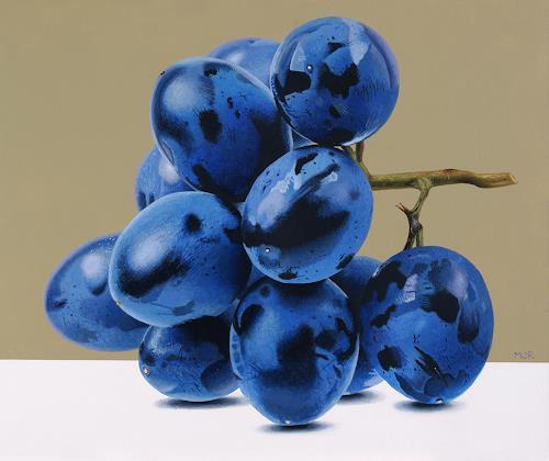 Dietrich Moravec, Blaue Trauben, Pflanzen: Früchte, Stilleben, Hyperrealismus, Expressionismus