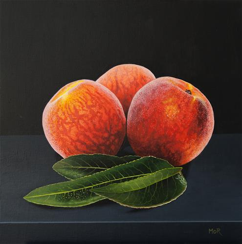 Dietrich Moravec, Peaches and Leaves, Pflanzen: Früchte, Stilleben, Hyperrealismus, Expressionismus