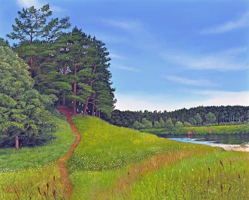 Dietrich Moravec, Fußpfad zum Waldrand, Landschaft, Landschaft: Hügel, Fotorealismus, Expressionismus