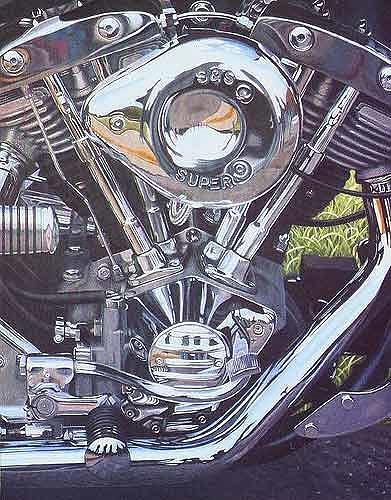 Dietrich Moravec, The Heart of a Harley D., Technik, Verkehr: Motorrad, Hyperrealismus