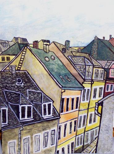 Michael Thomas Sachs, Ausblick aus meinen Atelier, Kleine Kartengasse, Architektur, Naturalismus