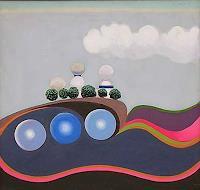 Peter-Janssen-Landschaft-Huegel-Technik-Gegenwartskunst--Postsurrealismus