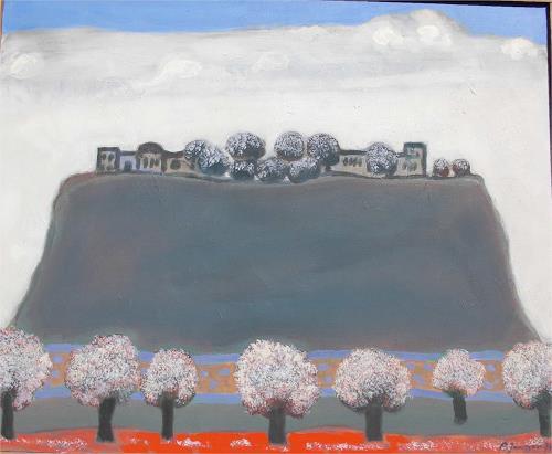 Peter Janssen, Das Dorf, Landschaft: Hügel, Realismus, Expressionismus