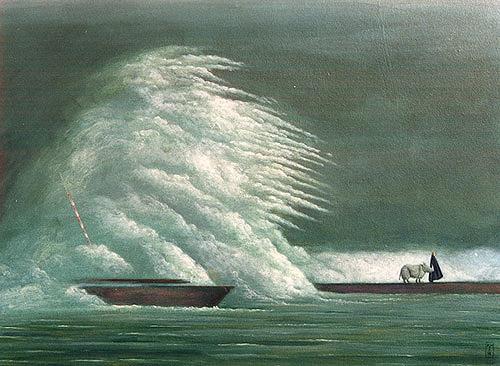 Hinrich van Hülsen, Ruhig wurde es nicht mehr, Natur: Wasser, Fantasie, Abstrakte Kunst, Expressionismus
