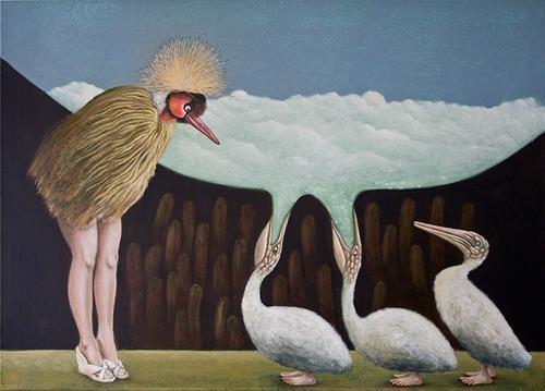 Hinrich van Hülsen, Führung durch die Vogelwelt, Fantasie, Tiere: Luft, Abstrakter Expressionismus