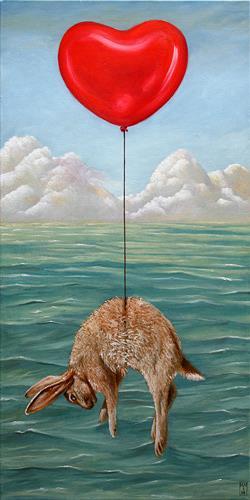 Hinrich van Hülsen, Ein plötzlicher Einfall, Fantasie, Landschaft: See/Meer, Realismus, Abstrakter Expressionismus