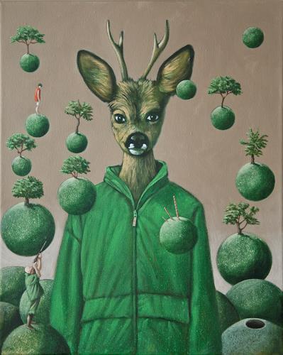 Hinrich van Hülsen, Am Tag der Königin, Tiere: Land, Jagd, Neue Figurative Malerei, Abstrakter Expressionismus