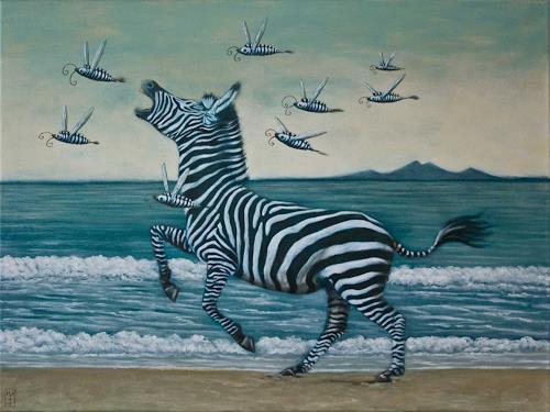 Hinrich van Hülsen, Der Weg zum P, Tiere: Land, Landschaft: See/Meer, Postsurrealismus, Abstrakter Expressionismus