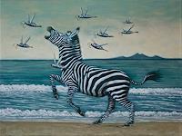Hinrich-van-Huelsen-Tiere-Land-Landschaft-See-Meer-Gegenwartskunst-Postsurrealismus