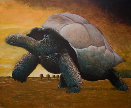 Hinrich van Hülsen, Es ist gestern Nacht passiert, Tiere: Land, Landschaft: Ebene, Postsurrealismus, Expressionismus