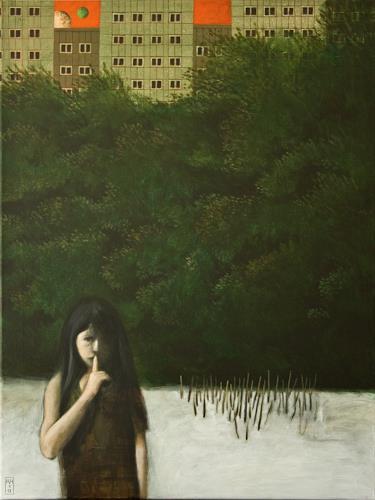 Hinrich van Hülsen, Der zweite Mond, Menschen, Diverse Landschaften, Realismus, Expressionismus