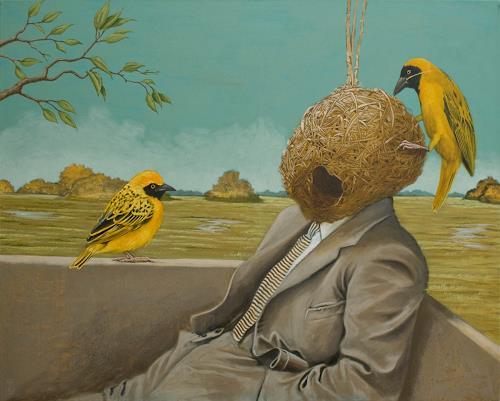 Hinrich van Hülsen, Birdman, Menschen: Mann, Tiere: Luft, Postsurrealismus, Abstrakter Expressionismus