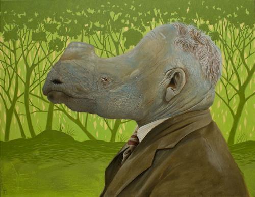 Hinrich van Hülsen, Scratch my neck, Menschen: Mann, Tiere: Land, Postsurrealismus, Abstrakter Expressionismus