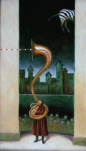 Hinrich van Hülsen, Noch kurz vor der Schau, Skurril, Fantasie, Postsurrealismus, Abstrakter Expressionismus