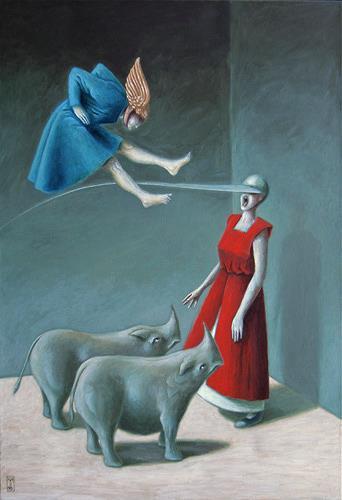 Hinrich van Hülsen, Manche bleiben für immer, Diverse Menschen, Tiere: Land, Postsurrealismus, Abstrakter Expressionismus