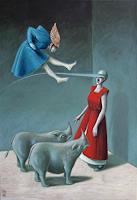 Hinrich-van-Huelsen-Diverse-Menschen-Tiere-Land-Gegenwartskunst--Postsurrealismus