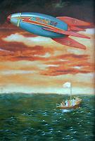 Hinrich-van-Huelsen-Landschaft-See-Meer-Skurril-Gegenwartskunst--Postsurrealismus