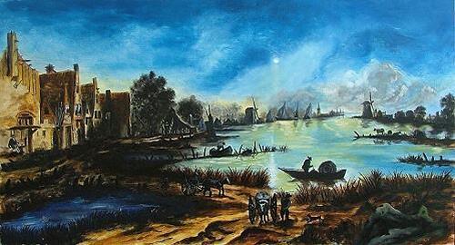 Josef Balek, freie kopie Aert van der Neer, Landschaft: See/Meer, Diverse Menschen, Land-Art, Expressionismus