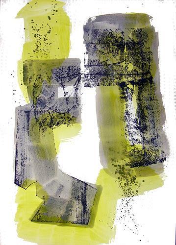 Reiner Poser, Grau und Grün, Abstraktes, Arte Cifra, Expressionismus