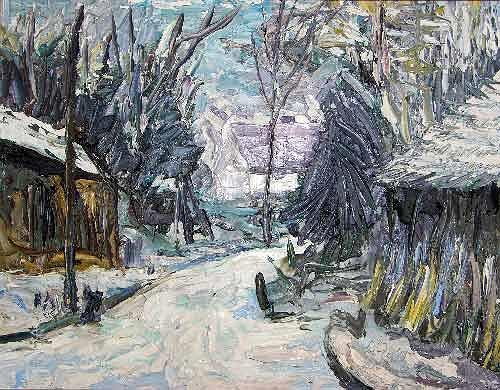 Reiner Poser, Winter im Spreewald, Landschaft: Winter, Neo-Expressionismus, Expressionismus