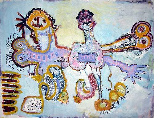 Reiner Poser, Adam und Eva zanken sich um den Paradiesapfel, Abstraktes, Art Brut, Abstrakter Expressionismus